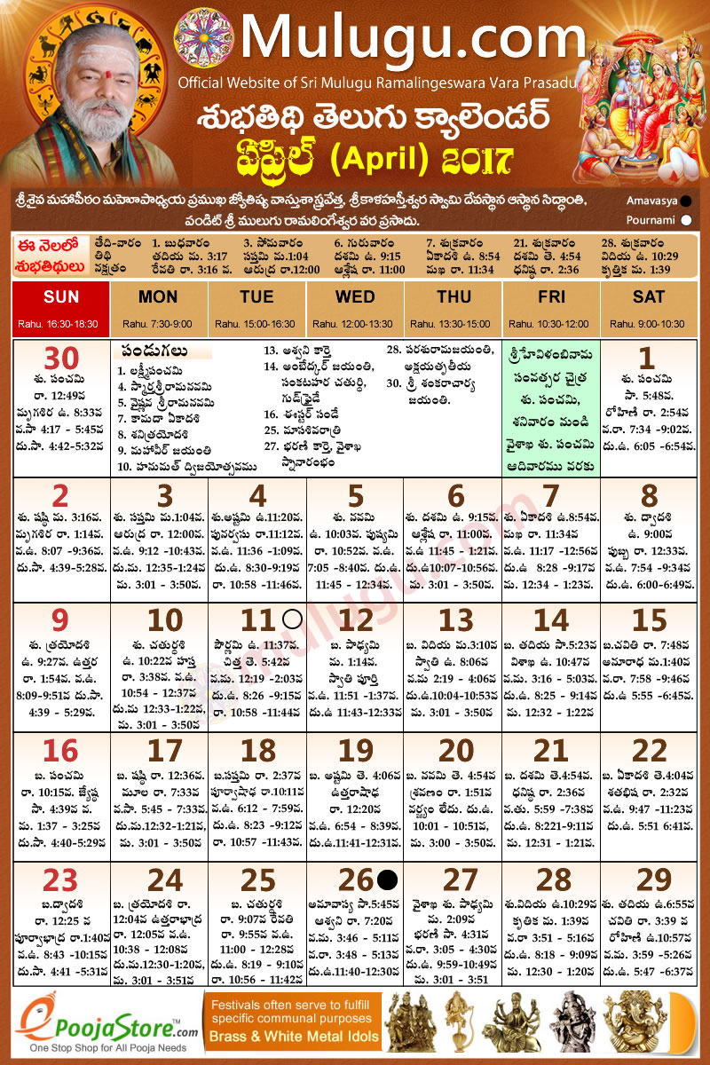 September 2017 Telugu Panchangam - Daily & Monthly ...