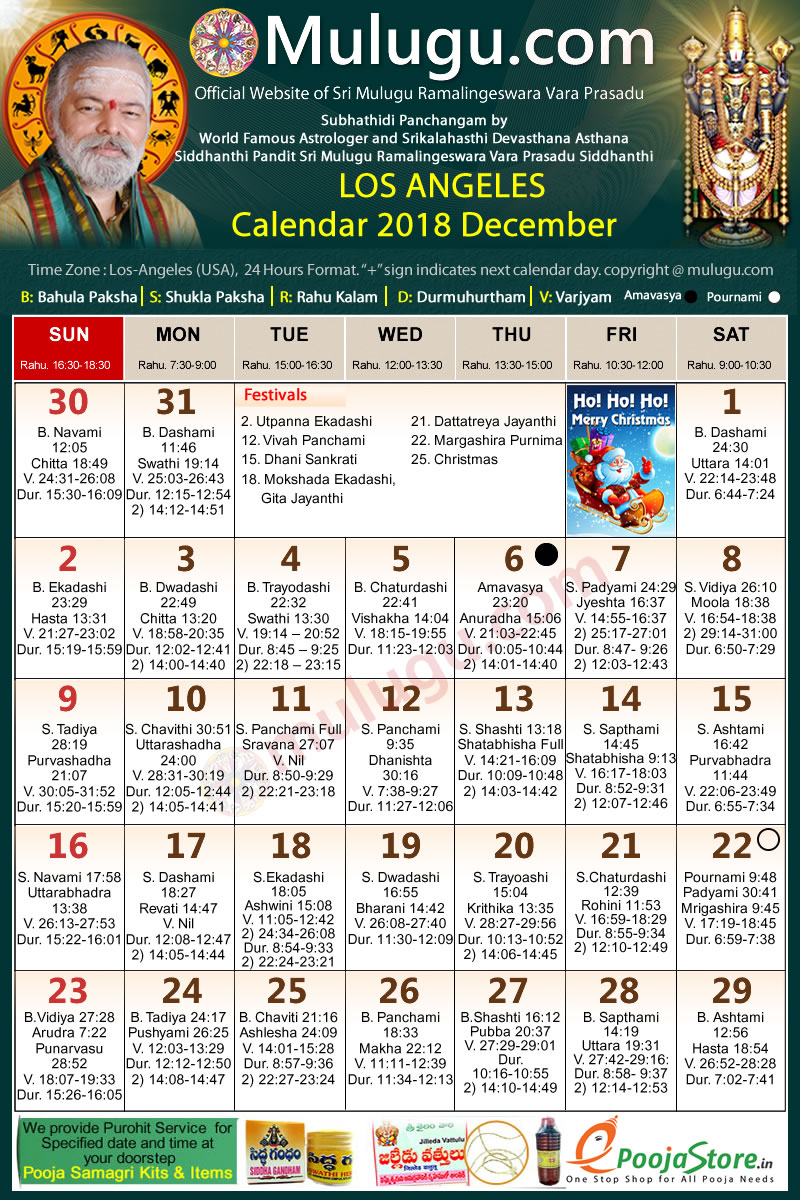Telugu Calendar December 2019 Usa Los Angeles Los Angeles Telugu Calendar 2018 December | Mulugu Calendars