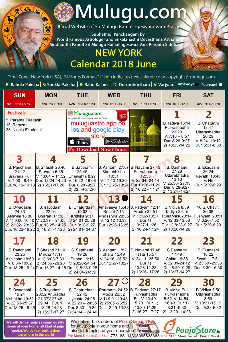 New-York Telugu Calendar 2018 June   Mulugu Calendars ...