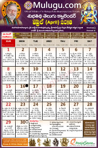 Subhathidi Telugu Calendar 2018 April with Tithi, Nakshatram, Durmuhurtham Timings, Varjyam Timings and Rahukalam (Samayam's)Timings