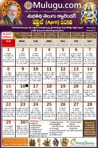 Telugu Calendar 2018- 2019 | Telugu Subhathidi Calenar 2018