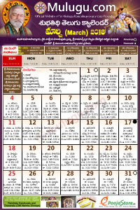 Subhathidi Telugu Calendar 2018 March with Tithi, Nakshatram, Durmuhurtham Timings, Varjyam Timings and Rahukalam (Samayam's)Timings