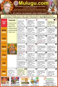 SAtlanta (USA) Telugu Calendar 2020 February with Tithi, Nakshatram, Durmuhurtham Timings, Varjyam Timings and Rahukalam (Samayam's)Timings
