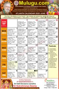 Atlanta (USA) Telugu Calendar 2020 June with Tithi, Nakshatram, Durmuhurtham Timings, Varjyam Timings and Rahukalam (Samayam's)Timings