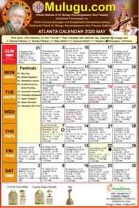 Atlanta (USA) Telugu Calendar 2020 May with Tithi, Nakshatram, Durmuhurtham Timings, Varjyam Timings and Rahukalam (Samayam's)Timings