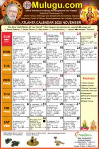 Atlanta (USA) Telugu Calendar 2020 November with Tithi, Nakshatram, Durmuhurtham Timings, Varjyam Timings and Rahukalam (Samayam's)Timings