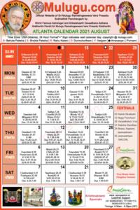 Atlanta (USA) Telugu Calendar 2021 August with Tithi, Nakshatram, Durmuhurtham Timings, Varjyam Timings and Rahukalam (Samayam's)Timings