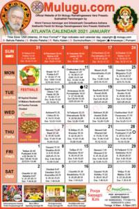 Atlanta (USA) Telugu Calendar 2021 January with Tithi, Nakshatram, Durmuhurtham Timings, Varjyam Timings and Rahukalam (Samayam's)Timings