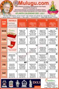 Atlanta (USA) Telugu Calendar 2021 July with Tithi, Nakshatram, Durmuhurtham Timings, Varjyam Timings and Rahukalam (Samayam's)Timings
