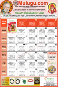 Atlanta (USA) Telugu Calendar 2021 June with Tithi, Nakshatram, Durmuhurtham Timings, Varjyam Timings and Rahukalam (Samayam's)Timings