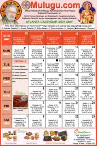 Atlanta (USA) Telugu Calendar 2021 May with Tithi, Nakshatram, Durmuhurtham Timings, Varjyam Timings and Rahukalam (Samayam's)Timings