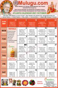 Atlanta (USA) Telugu Calendar 2021 October with Tithi, Nakshatram, Durmuhurtham Timings, Varjyam Timings and Rahukalam (Samayam's)Timings