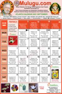 Atlanta (USA) Telugu Calendar 2021 September with Tithi, Nakshatram, Durmuhurtham Timings, Varjyam Timings and Rahukalam (Samayam's)Timings