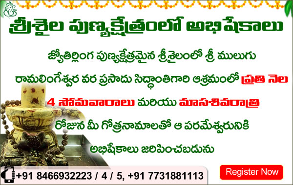 Every Month 4 Mondays and Masa Sivarathri Special Abhishekalu at Mulugu Siddanthi Ashramam in Srisailam