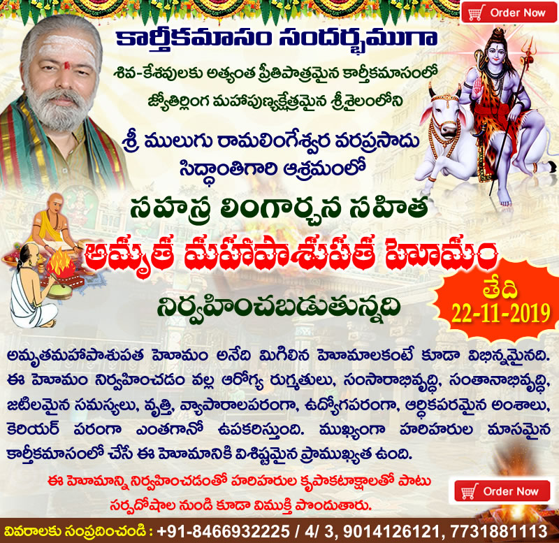 Performing  Karthika Masam Special Sahasra Lingarchana Sahitha Amrutha MahaPasupata Homam. Homa Is  to be Performed on November 22th 2019 at Guruji Ashram, Srisailam