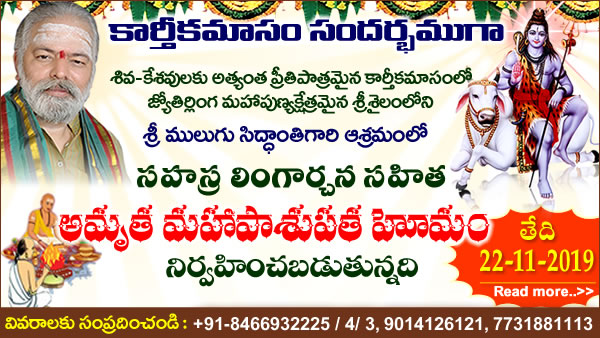 Performing  Karthika Masam Special Sahasra Lingarchana Sahitha Amrutha MahaPasupata Homam. Homa Is  to be Performed on November 22th 2019 at Guruji Ashram, Srisailam