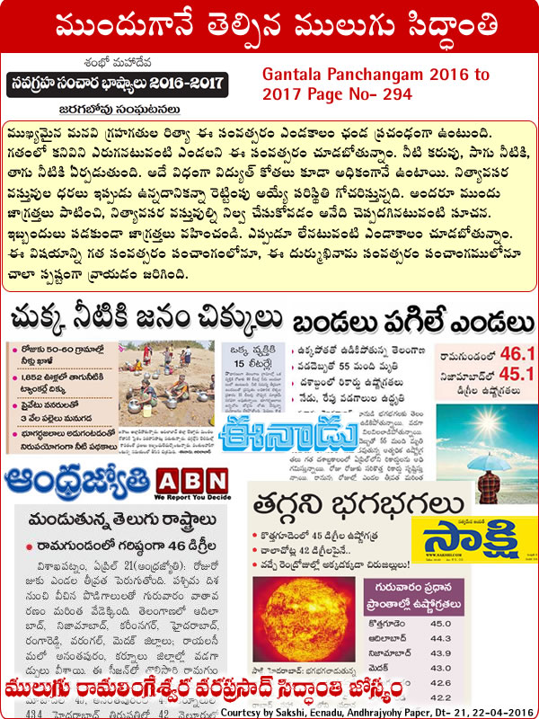 Mulugu Prediction As Temperatures Continue To Rise, Here's What You Can Do To Help Those Outside In The Heat 2016 media sources Eenadu, Sakshi, andhrajyothy, andhrabhoomi, papers