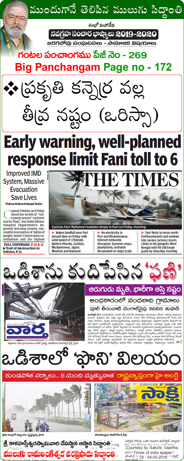 Mulugu Siddanthi Proven Prediction Mulugu-Prediction Cyclone Fani Crosses Odisha Coast; Flooding, Damaging Winds -Print-media-by Sakshi,Vaartha, Times of Indida, Namaste Telangana