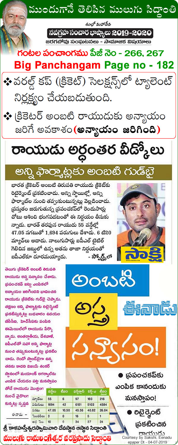 Mulugu Siddanthi Proven Prediction- middle-order batsman Ambati Rayudu announced his retirement from all forms(formats) of cricket
