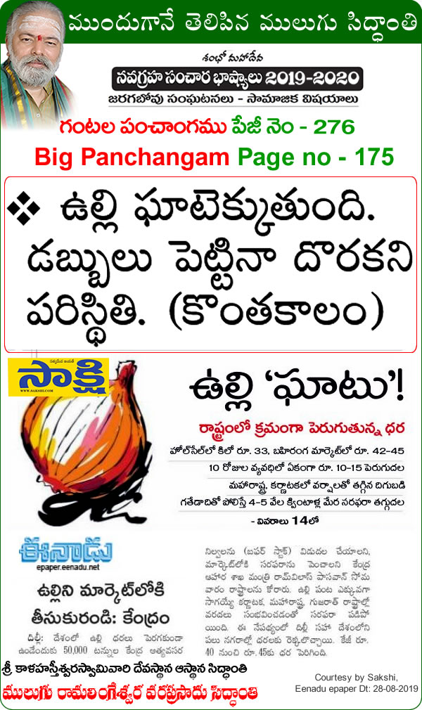 Mulugu Siddanthi Proven Prediction- there is no sign of skyrocketing price of onions