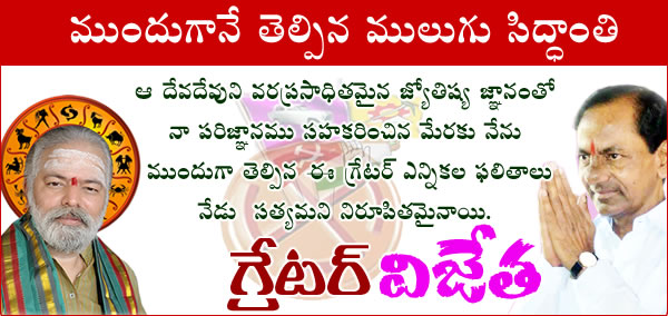 Mulugu Proven Prediction Greater Hyderabad Municipal Corporation  Elections 2016 Win by TRS