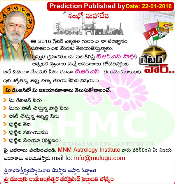 Mulugu Prediction Greater Hyderabad Municipal Corporation  Elections 2016
