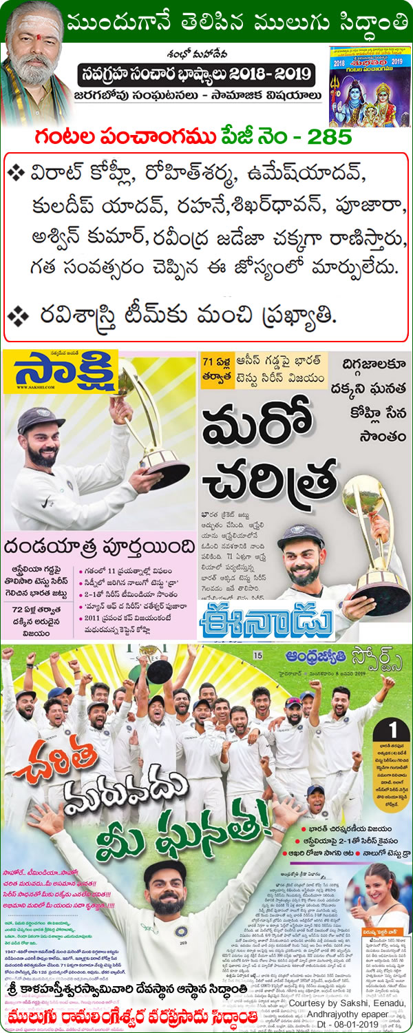 Predicted by Mulugu Ramalingeshwara Varaprasad Siddhant in his Shubhatithi Panchangam Good reputation for Ravi Shashtri's team, Virat Kohli, Rohit Sharma, Umesh Yadav, Kuladeep Yadav, Rahane, Shikhar Dhavan, Pujara, Ashwin Kumar, Ravindra Jadeja will shine. There is no change in last year's prediction