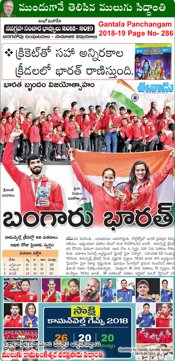 Predicted by Mulugu Ramalingeshwara Varaprasad Siddhant in his Shubhatithi Panchangam 2018 -2019- INDIA shining at Commonwealth Games(CWG)