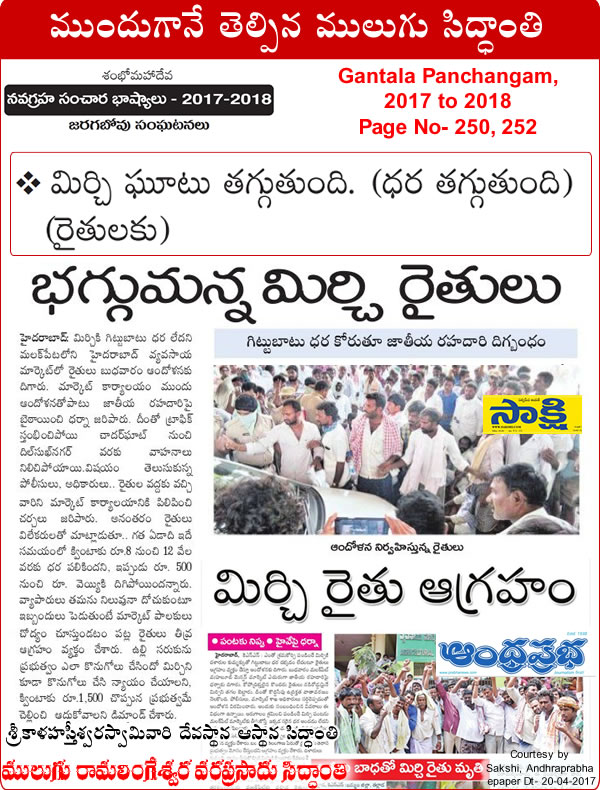 Predicted by Mulugu Ramalingeshwara Varaprasad Siddhant in his Shubhatithi Panchangam 2017-2018 Mirchi Farmers Strike In KhammamBhadradri Kothagudem, Demands For Minimum Support Price, Mirchi farmers in chaos in Telangana by media sources Sakshi Andhra Prabha.