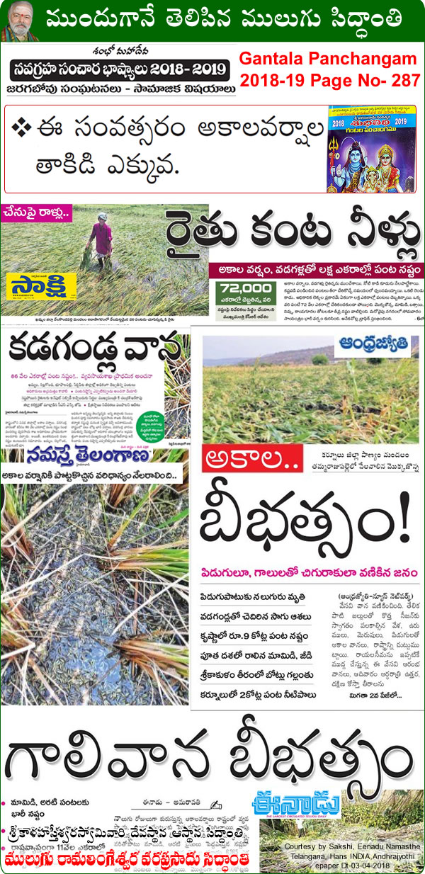 Predicted by Mulugu Ramalingeshwara Varaprasad Siddhant in his Shubhatithi Panchangam - Unseasonal Rain Hailstorm cause Crop Damage in AP, Telangana