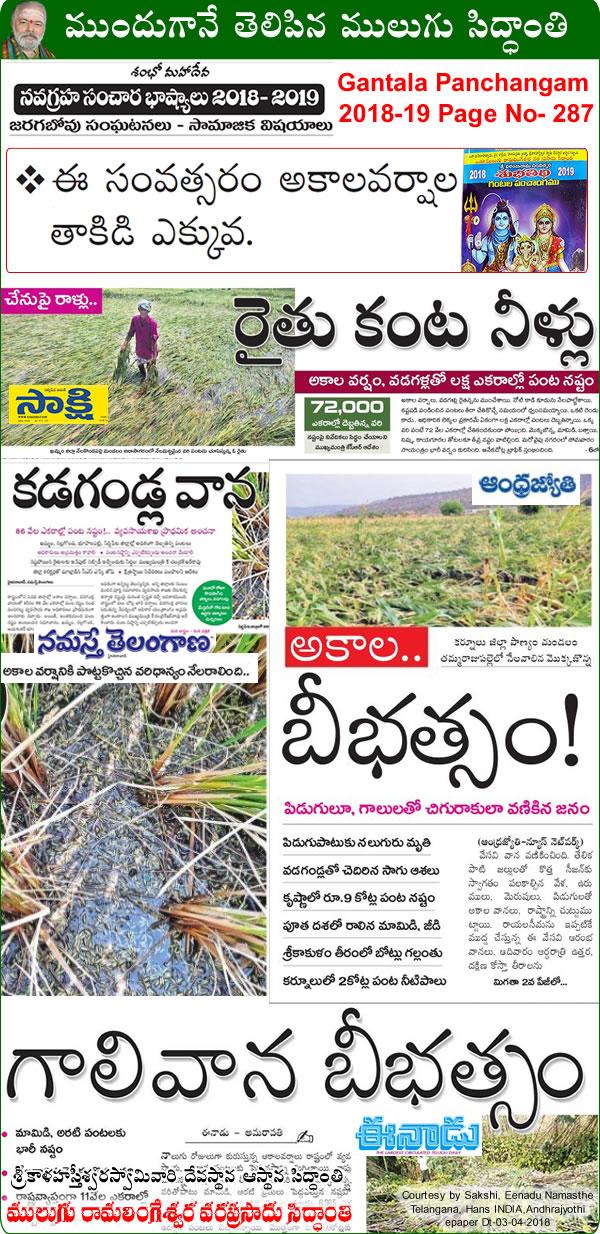 Predicted by Mulugu Ramalingeshwara Varaprasad Siddhant in his Shubhatithi Panchangam - Unseasonal Rain Hailstorm cause Crop Damage in AP, Telangana