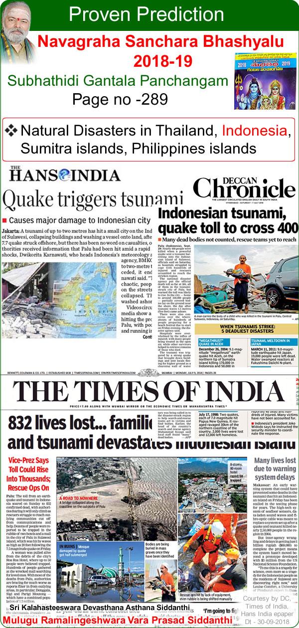Predicted by Mulugu Ramalingeshwara Varaprasad Siddhant in his Shubhatithi Panchangam- natural disasters in thailand, indonesia, sumitra islands, Philippines islands  थायलंड, इंडोनेशिया, सुमित्रा दीविया, फिलाप्पींस दीविया को प्राकृतिक आपदाए
