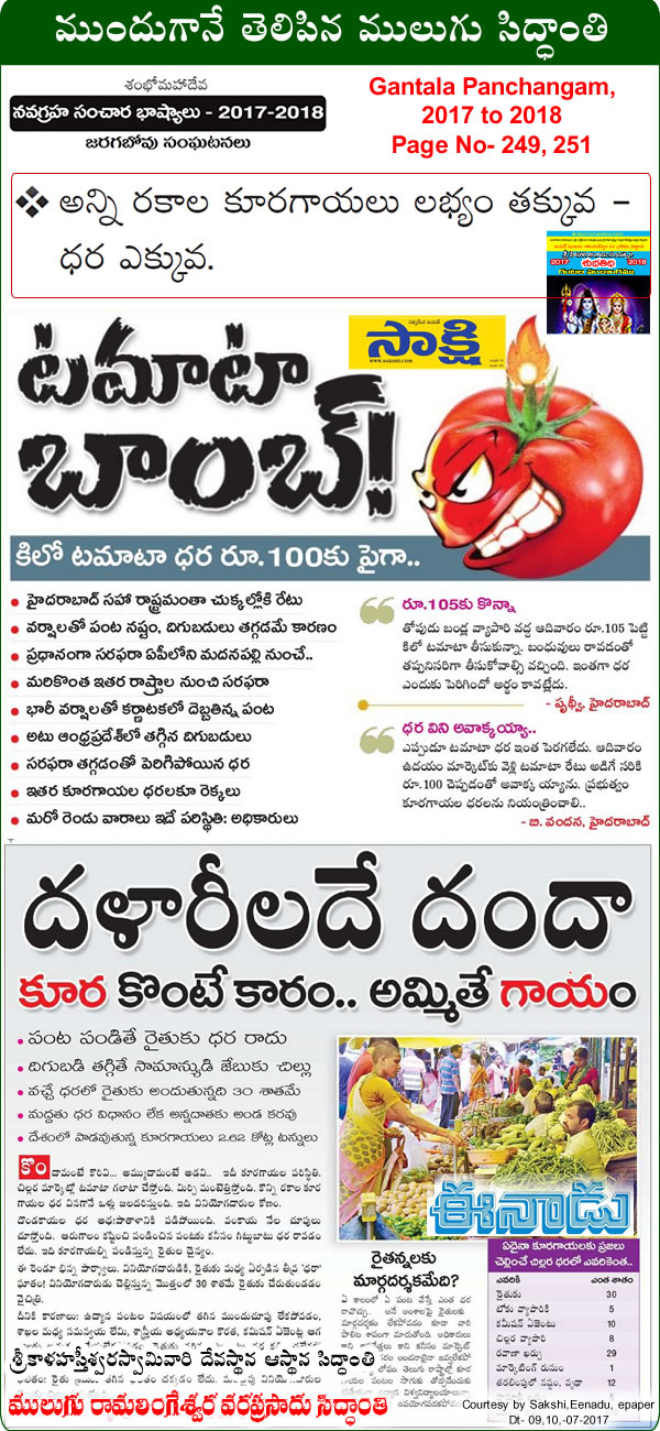 Predicted by Mulugu Ramalingeshwara Varaprasad Siddhant in his Shubhatithi Panchangam 2017-2018 The prices of all vegetables have gone up in the last two weeks in the city, All vegetable-prices-touching-sky-high?. by Print media sources Sakshi, Eenadu Namasthe Telangana.